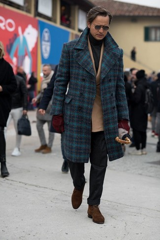 How to Wear Dark Brown Suede Desert Boots: Dress in a navy plaid overcoat and black wool dress pants if you're aiming for a proper, stylish ensemble. Complement this getup with a pair of dark brown suede desert boots to effortlesslly step up the fashion factor of your look.