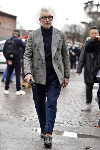 How to wear: navy chinos, black turtleneck, grey plaid double breasted blazer, navy shirt jacket