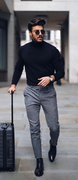 How to wear: navy turtleneck, grey dress pants, black leather chelsea boots, black sunglasses