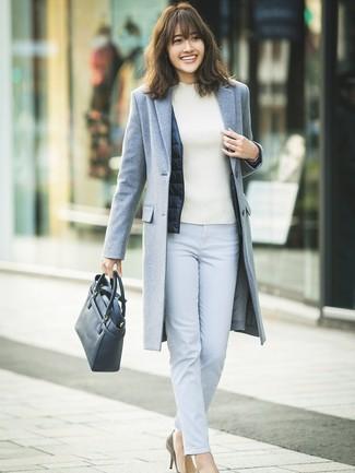 How to wear: light blue skinny pants, white turtleneck, navy gilet, grey coat