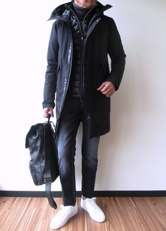 Which Turtleneck To Wear With a Black Gilet For Men: Show off your chops in men's fashion by pairing a black gilet and a turtleneck for a laid-back getup. Want to break out of the mold? Then why not complete this ensemble with white leather low top sneakers?