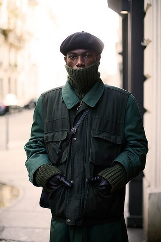 How to wear: black beanie, olive knit turtleneck, olive gilet, dark green raincoat
