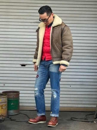 How to wear: blue ripped jeans, black turtleneck, red quilted gilet, brown shearling jacket