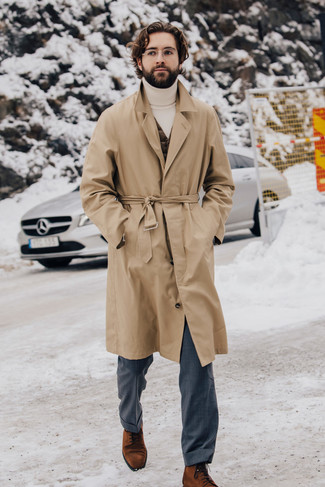 How to Wear a White Turtleneck For Men: For a look that's sophisticated and envy-worthy, wear a white turtleneck and grey dress pants. And if you want to easily step up your look with a pair of shoes, why not introduce a pair of tobacco suede dress boots to this ensemble?