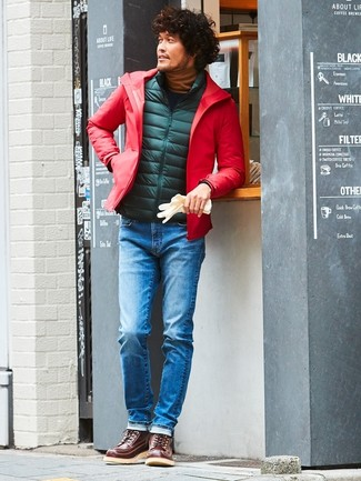 How to wear: blue jeans, tobacco turtleneck, dark green quilted gilet, red windbreaker
