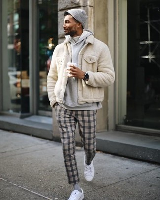 How to wear: grey plaid dress pants, white turtleneck, grey hoodie, beige fur bomber jacket