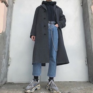 How to wear: blue jeans, black turtleneck, black hoodie, charcoal overcoat