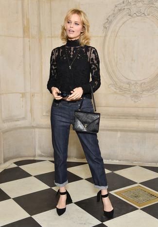 How to wear: black lace turtleneck, navy jeans, black suede pumps, black leather crossbody bag
