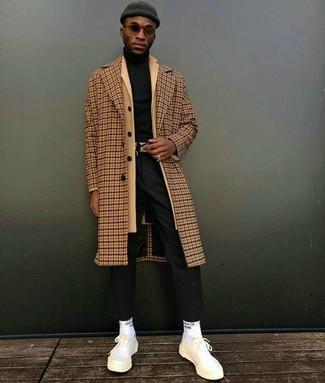 How to wear: black dress pants, black turtleneck, camel overcoat, camel check overcoat