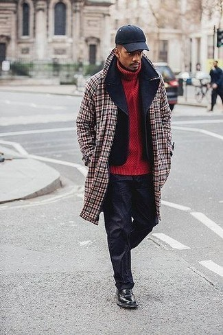 How to wear: black chinos, red knit turtleneck, black pea coat, red plaid overcoat