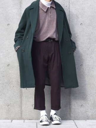 How to wear: dark brown dress pants, white turtleneck, purple polo neck sweater, dark green overcoat