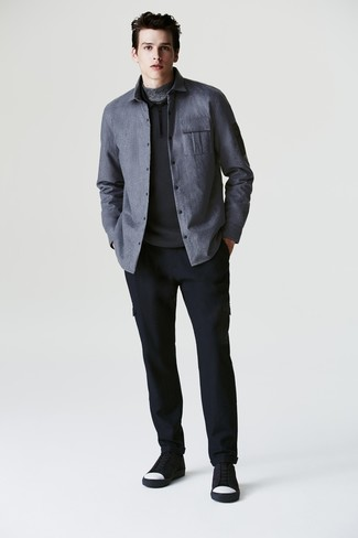 How to wear: navy wool cargo pants, grey turtleneck, black polo neck sweater, grey shirt jacket