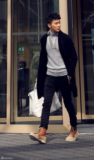 How to wear: black chinos, grey turtleneck, grey shawl-neck sweater, black shawl cardigan