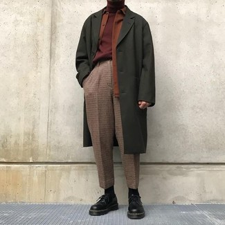 How to wear: brown check dress pants, burgundy turtleneck, tobacco shirt jacket, olive overcoat