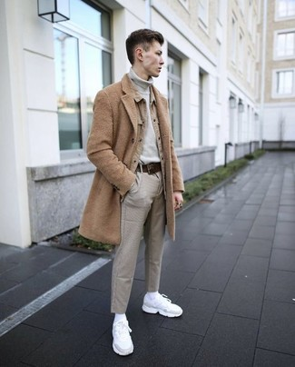 How to wear: grey chinos, grey turtleneck, tan shirt jacket, camel overcoat