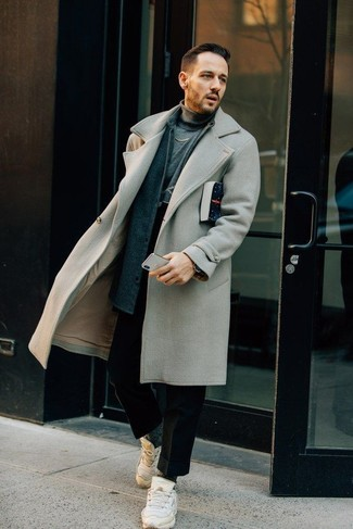 How to Wear White Athletic Shoes For Men: This combination of a grey overcoat and black wool chinos is hard proof that a simple outfit can still be really sharp. Finishing with a pair of white athletic shoes is a guaranteed way to inject a playful touch into your look.