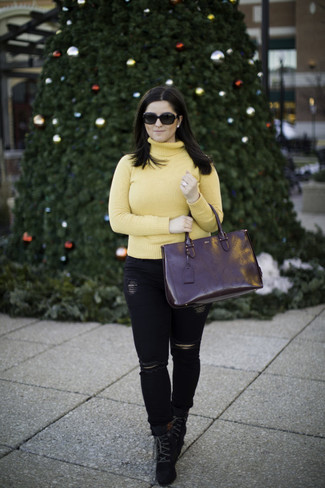 How to wear: yellow turtleneck, black ripped skinny jeans, black suede lace-up ankle boots, black leather tote bag