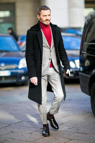 Fashion for Men Over 40: What To Wear: Teaming a black fur collar coat with a grey plaid suit is an on-point option for a stylish and refined outfit. The whole ensemble comes together quite nicely if you introduce burgundy leather double monks to the equation.