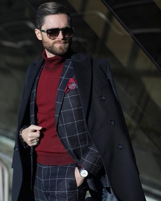 How to wear: red print pocket square, burgundy turtleneck, navy check suit, black overcoat