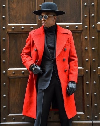 How to wear: black wool hat, black turtleneck, black suit, red overcoat