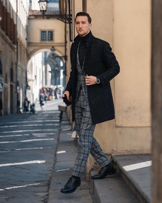 How to wear: black leather derby shoes, black turtleneck, grey plaid suit, black overcoat