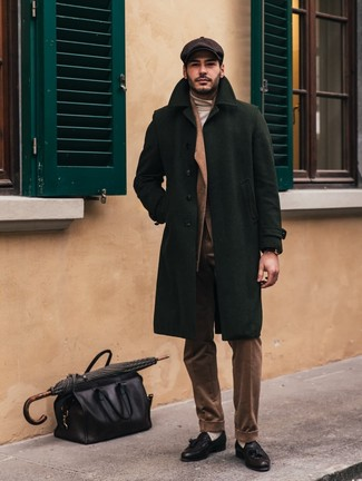 How to wear: black leather tassel loafers, beige turtleneck, brown corduroy suit, dark green overcoat