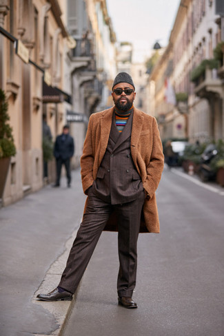 How to Wear Dark Brown Leather Loafers For Men: To look like a real dandy with a great deal of style, pair a camel overcoat with a dark brown vertical striped suit. Dark brown leather loafers integrate effortlessly within a variety of outfits.