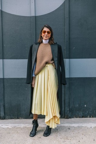 How to wear: yellow pleated midi skirt, white turtleneck, tan knit tunic, black coat