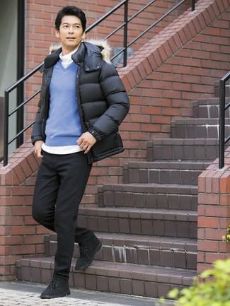 How to wear: black jeans, white turtleneck, blue v-neck sweater, black puffer jacket
