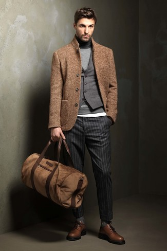 How to wear: white crew-neck t-shirt, grey turtleneck, grey wool waistcoat, tan wool blazer