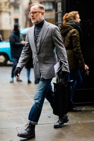 How to wear: blue ripped jeans, black turtleneck, grey waistcoat, grey blazer
