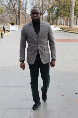 How to Wear a Black Turtleneck For Men: A black turtleneck and dark green chinos make for a neat casual uniform. Take a more laid-back approach with shoes and grab a pair of black canvas low top sneakers.