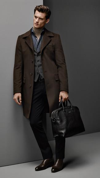 How to wear: navy chambray long sleeve shirt, tan turtleneck, charcoal waistcoat, dark brown overcoat
