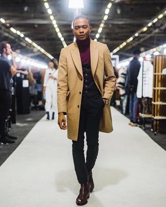 How to wear: black skinny jeans, burgundy turtleneck, black waistcoat, camel overcoat