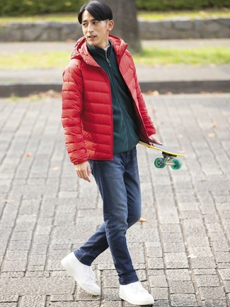 How to wear: navy jeans, white and black horizontal striped turtleneck, dark green zip sweater, red puffer jacket