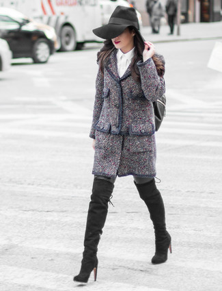 Wear a navy tweed jacket and an Elizabeth and James women's Langley Shearling And Leather Backpack and you'll be the picture of elegance. Finish off your getup with black suede over the knee boots. Mastering transitional fashion is easy with style inspo like this.