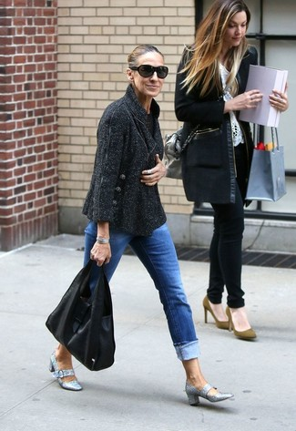 How to wear: black tweed jacket, blue jeans, silver sequin pumps, black leather tote bag