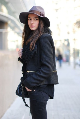 How to wear: black tweed jacket, black long sleeve t-shirt, black skinny jeans, black leather satchel bag