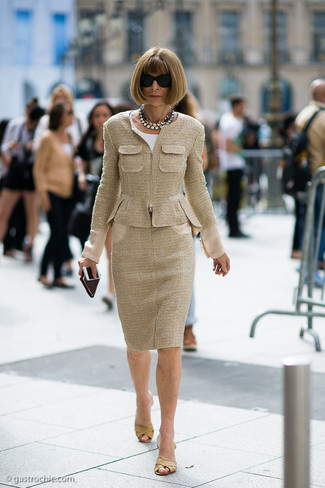 How to wear: tan tweed jacket, white short sleeve blouse, tan tweed pencil skirt, tan leather mules