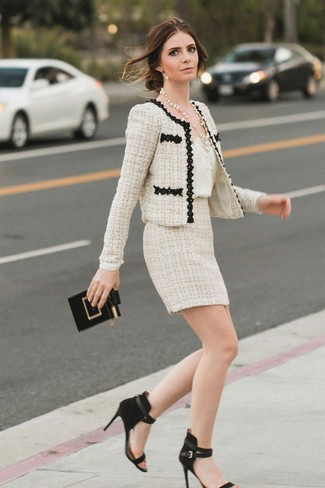 How to wear: beige tweed jacket, white silk tank, beige tweed mini skirt, black suede heeled sandals