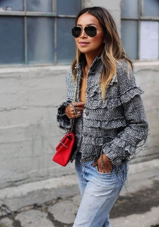How to wear: grey tweed jacket, white v-neck sweater, light blue jeans, red canvas crossbody bag