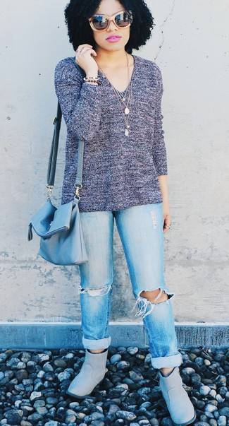 How to wear: light blue leather crossbody bag, grey uggs, light blue ripped boyfriend jeans, violet v-neck sweater