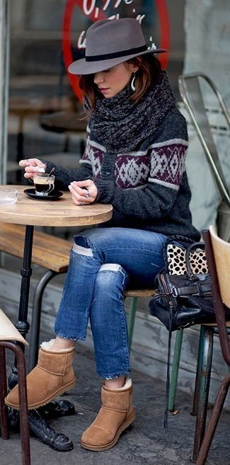 How to wear: black leather tote bag, tan uggs, blue ripped jeans, charcoal print cardigan
