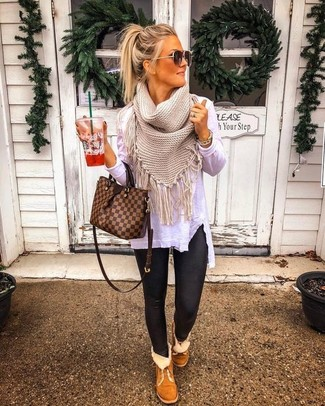 How to wear: brown check leather tote bag, brown uggs, black leather leggings, white long sleeve t-shirt