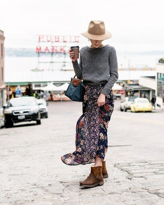 How to wear: navy canvas tote bag, dark brown uggs, black floral chiffon maxi skirt, charcoal crew-neck sweater