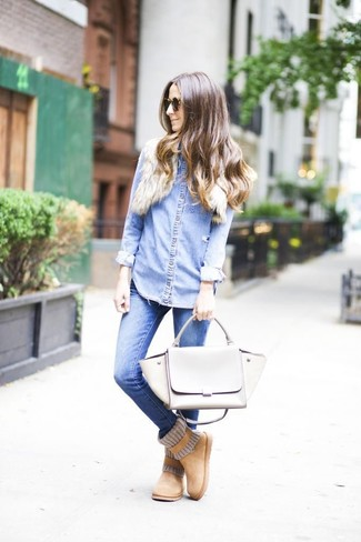 How to wear: grey leather satchel bag, tan uggs, blue skinny jeans, light blue denim shirt