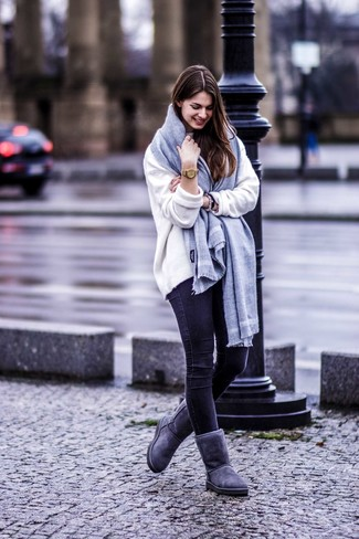 How to wear: grey scarf, charcoal uggs, black skinny jeans, white oversized sweater
