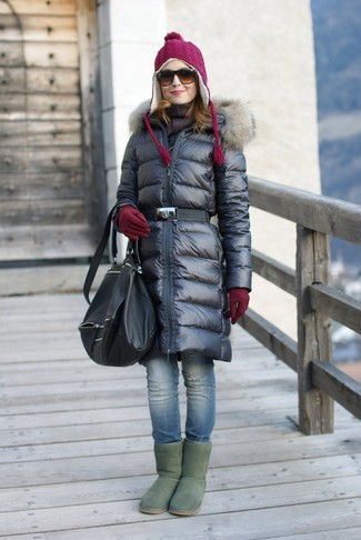 How to wear: black leather backpack, green uggs, blue ripped skinny jeans, black puffer coat