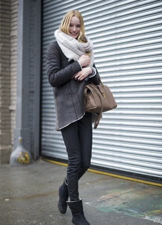 How to wear: brown leather tote bag, black uggs, black skinny jeans, charcoal shearling jacket