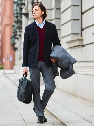How to wear: light blue dress shirt, burgundy v-neck sweater, black wool blazer, grey puffer coat